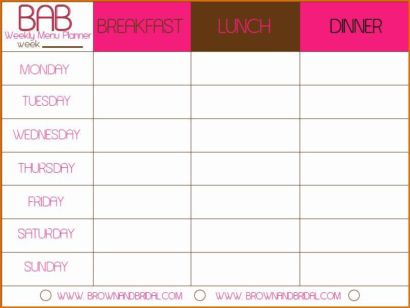 Meal Plan Calendar Template Inspirational 3 Meal Calendar Template