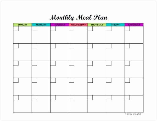 Meal Plan Calendar Template Luxury Free Monthly Meal Planner Printable Calendar Template for