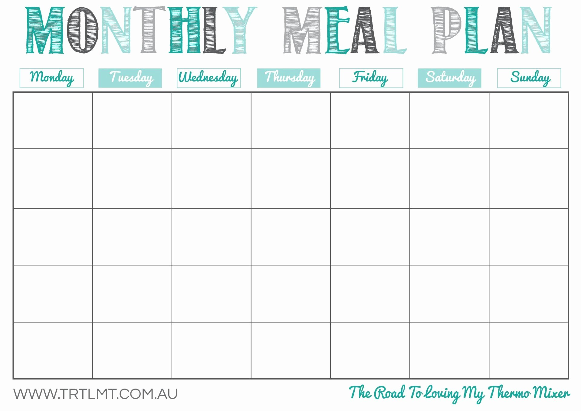Meal Plan Calendar Template New Monthly Meal Plan 2 Fb Crafts