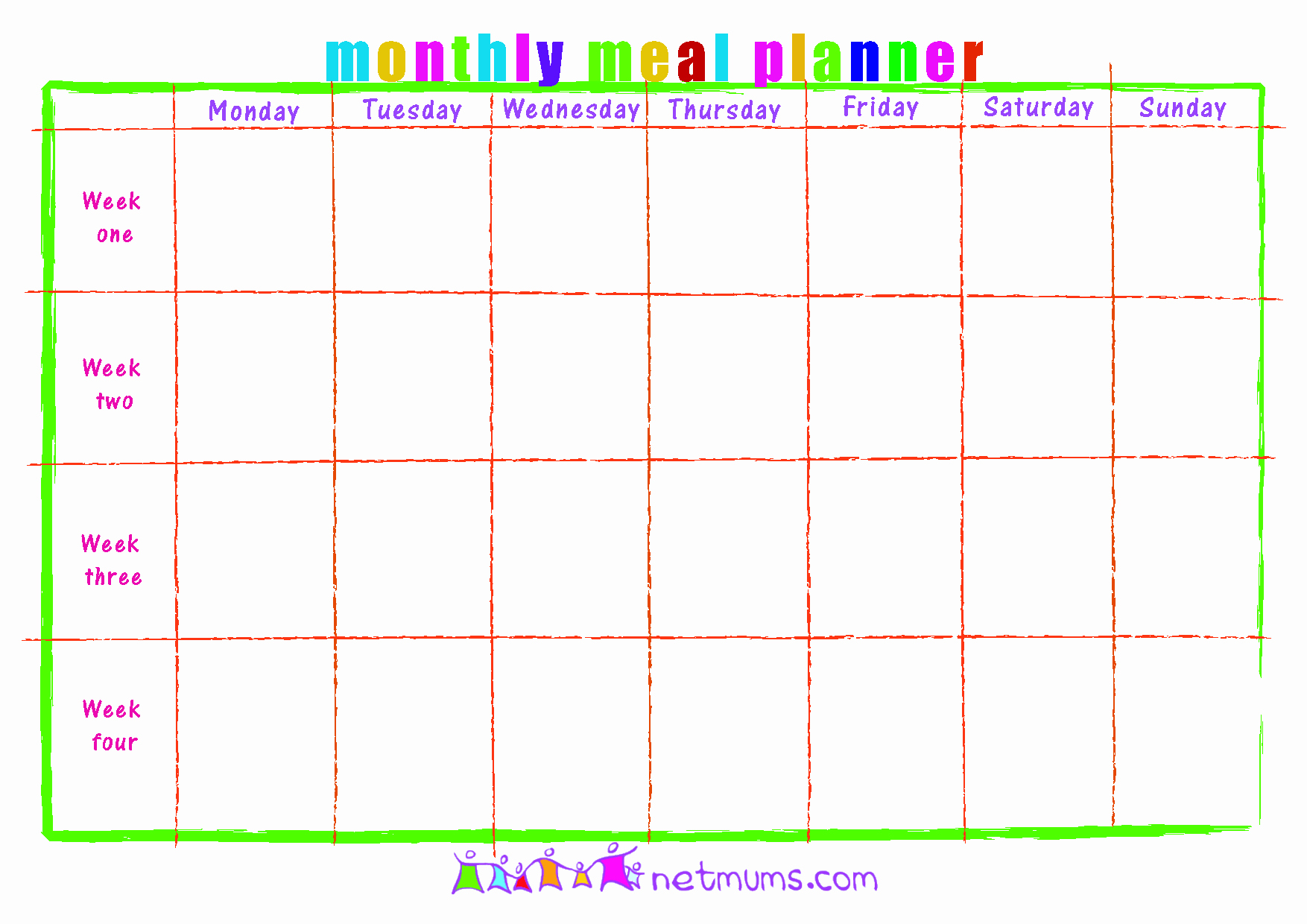 image relating to Monthly Meal Planner Printable known as Supper System Calendar Template One of a kind 28 Informative Printable