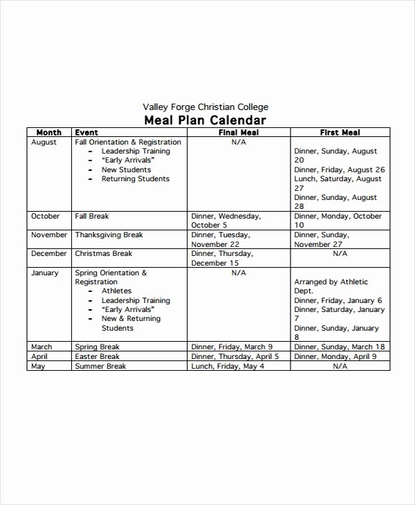 Meal Plan Calendar Template Unique 9 Meal Calendar Templates Free Sample Example format