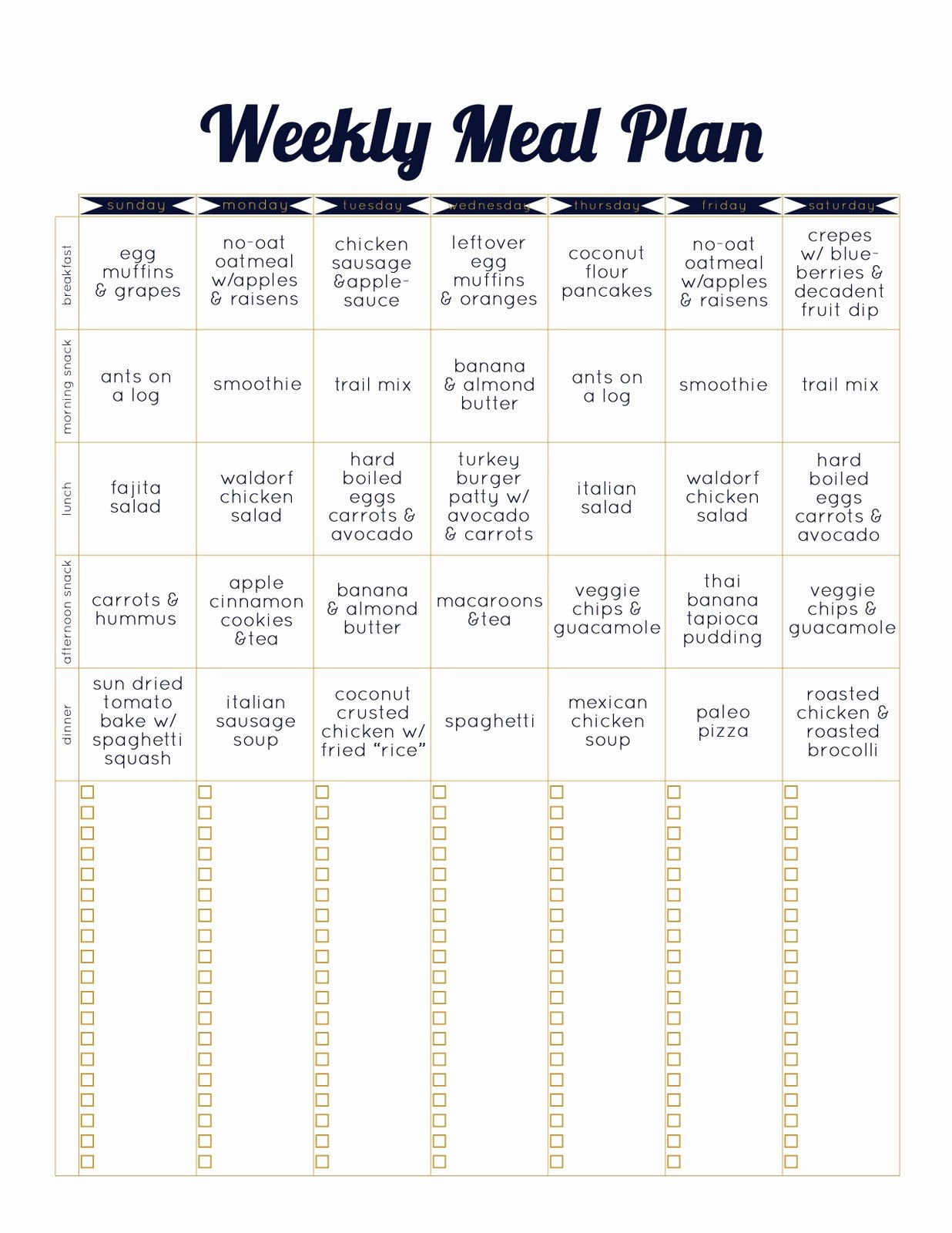 Meal Plan Chart Template Beautiful Always Underfoot Paleo Template Weekly Meal Plan