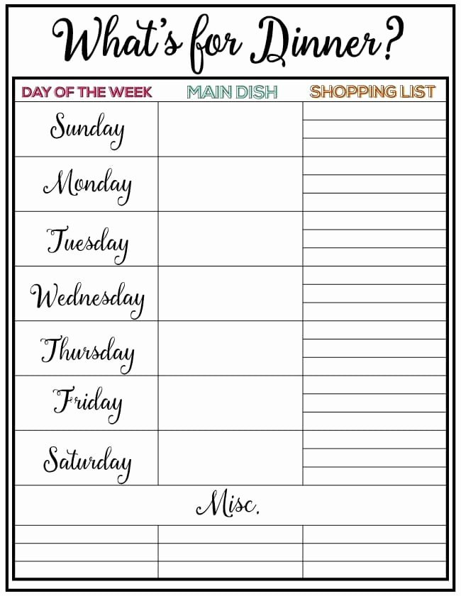 Meal Plan Chart Template Beautiful Weekly Meal Planner Week 7
