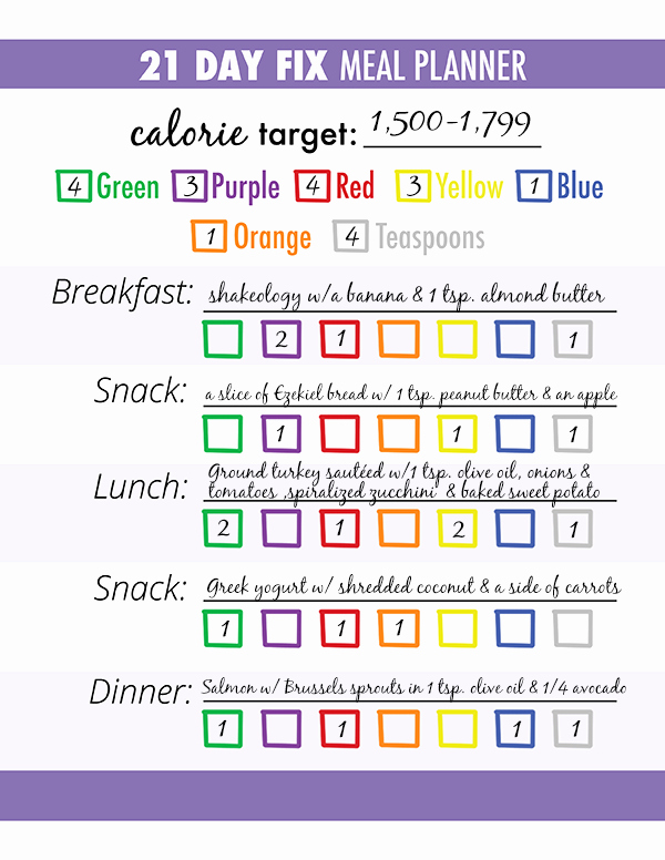 Meal Plan Chart Template Best Of 3 Steps for Successful 21 Day Fix Meal Planning