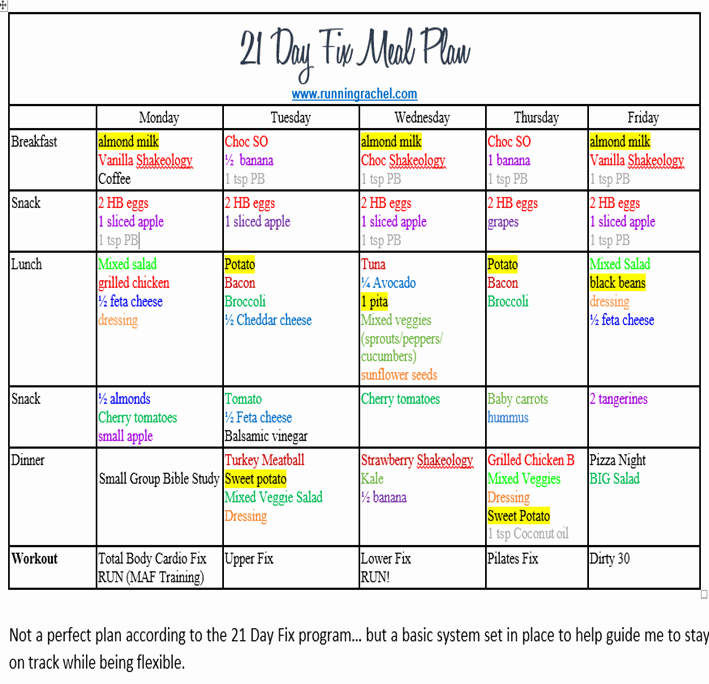 Meal Plan Chart Template Elegant 21 Day Fix Meal Plan and Fitness Plan Week 2