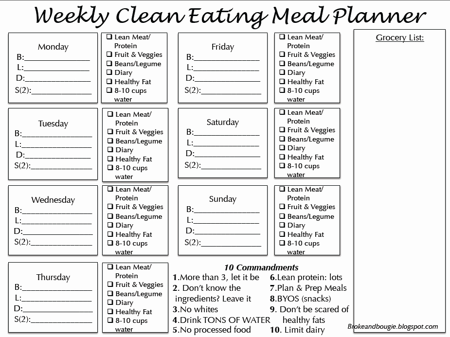 Meal Plan Chart Template Elegant Broke and Bougie Clean Eating Meal Plan Printable Bonus