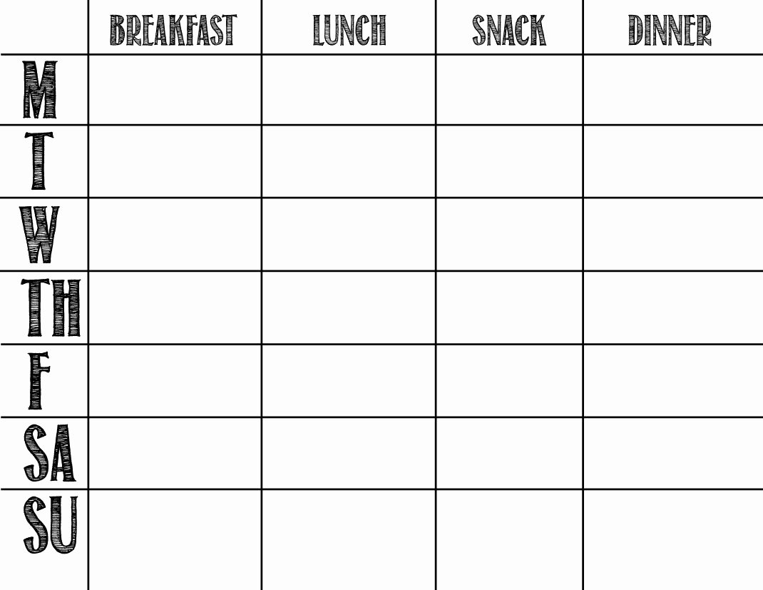 Meal Plan Chart Template Inspirational Printable Blank Chart Templates 08