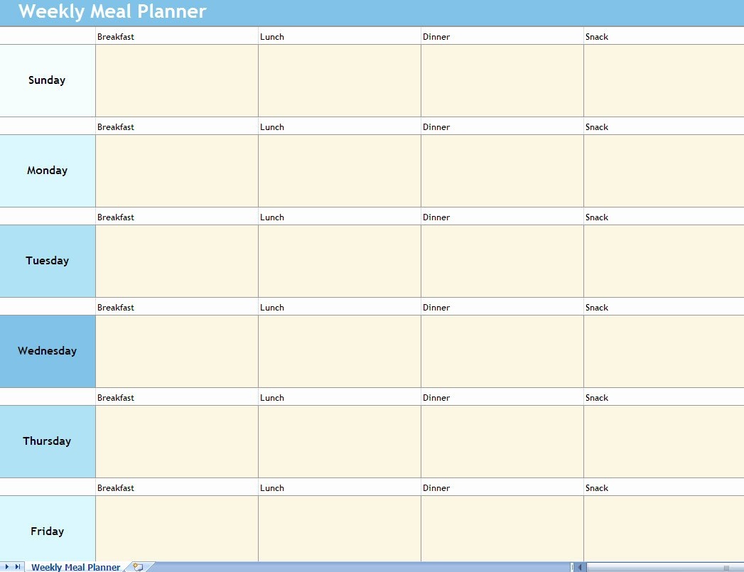 Meal Plan Excel Template Beautiful Weekly Meal Planner Excel Spreadsheet