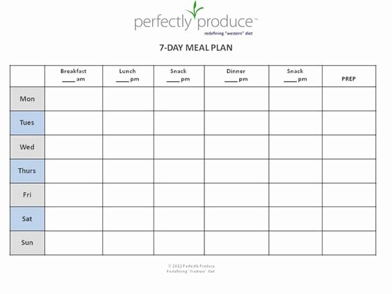Meal Plan Excel Template Elegant 7 Day Meal Planner Template