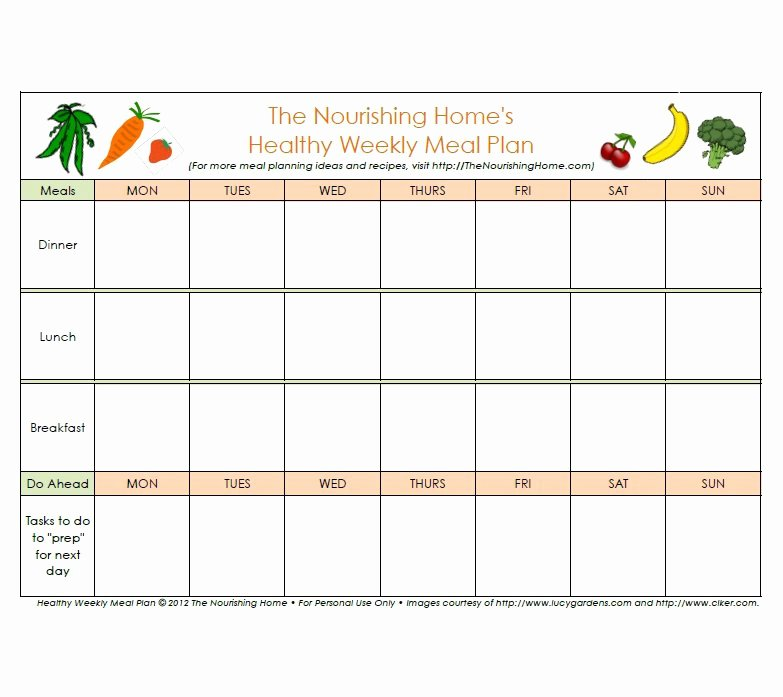 Meal Plan Excel Template Luxury 40 Weekly Meal Planning Templates Template Lab