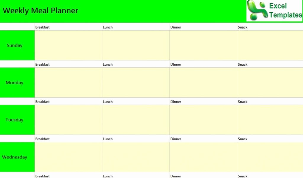 Meal Plan Excel Template New Weekly Meal Planner Excel Template