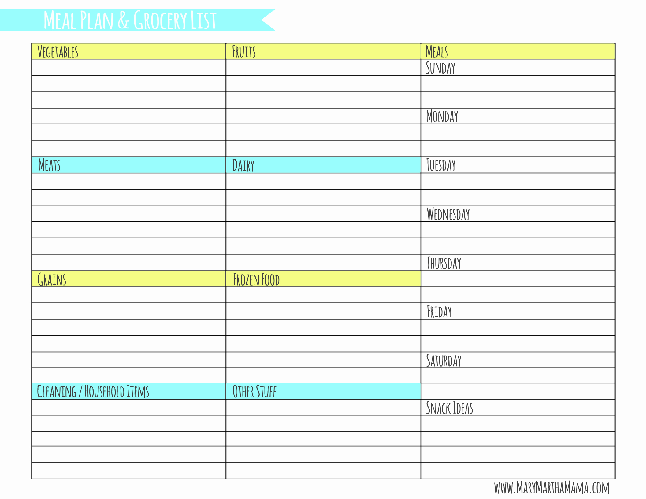 Meal Plan Spreadsheet Template Beautiful Weekly Meal Planner Template with Grocery List – Mary