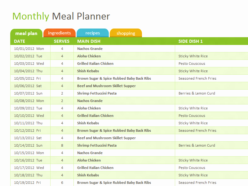 Meal Plan Spreadsheet Template Elegant Microsoft Excel Template to organize and Plan