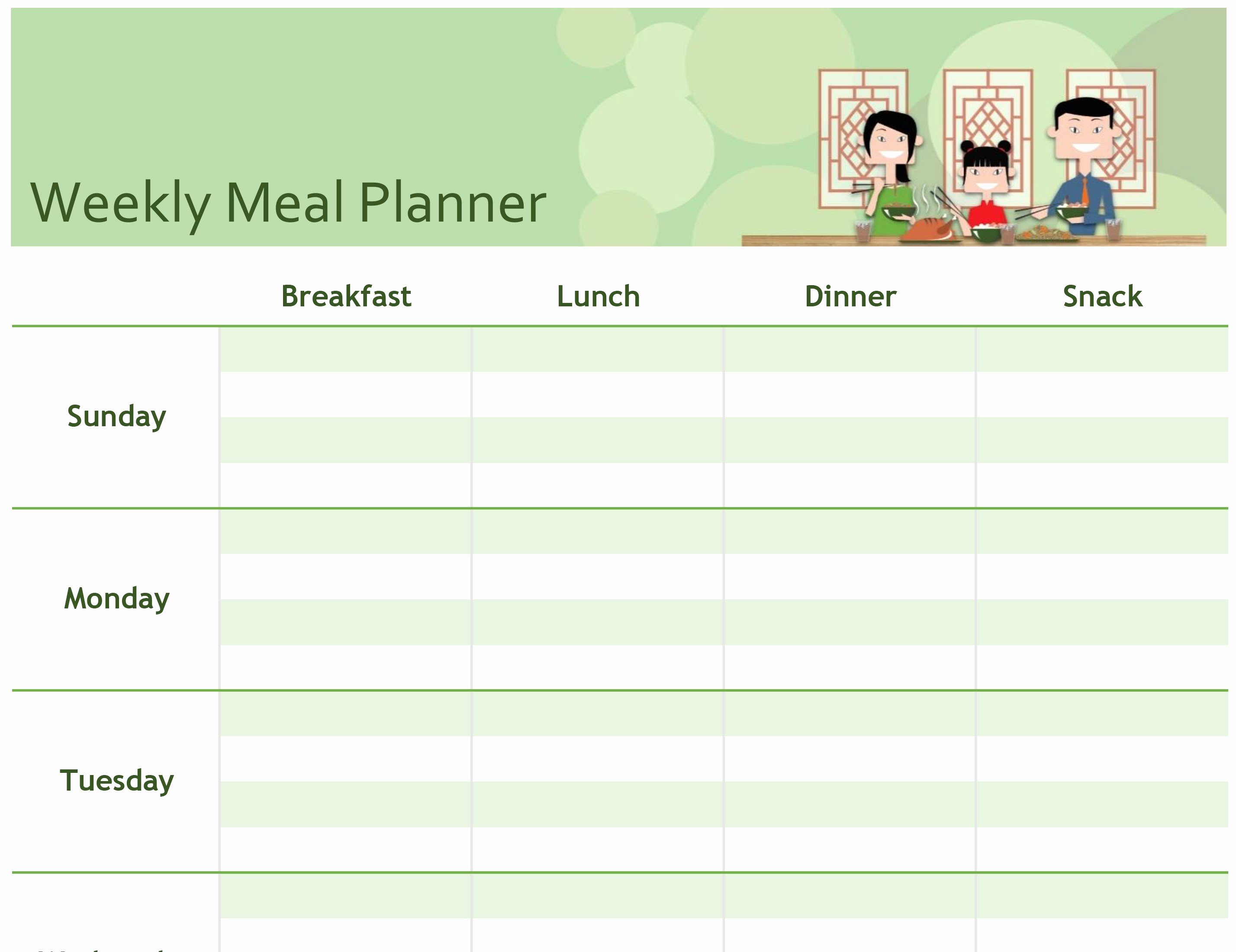 Meal Plan Spreadsheet Template Fresh Excel