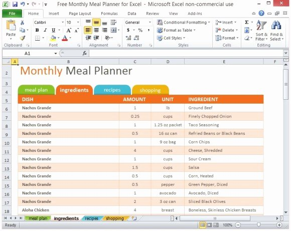 Meal Plan Spreadsheet Template Inspirational Free Monthly Meal Planner for Excel