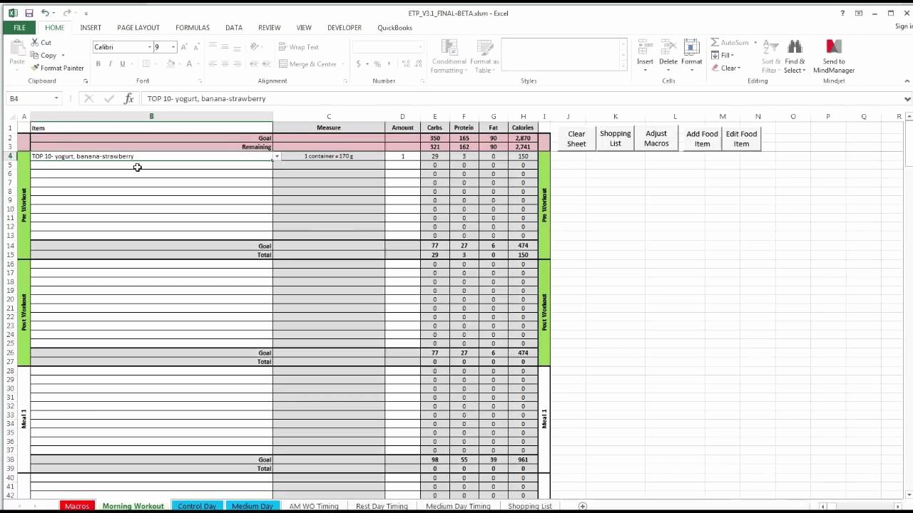 Meal Plan Spreadsheet Template Lovely Etp Meal Planning Spreadsheet V3 0