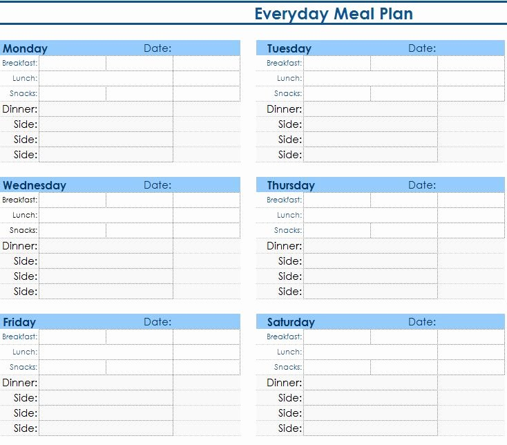 Meal Plan Template Excel Awesome Daily Meal Planner My Excel Templates