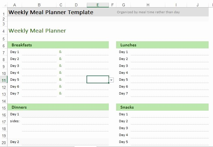 Meal Plan Template Excel Best Of Weekly Meal Planner