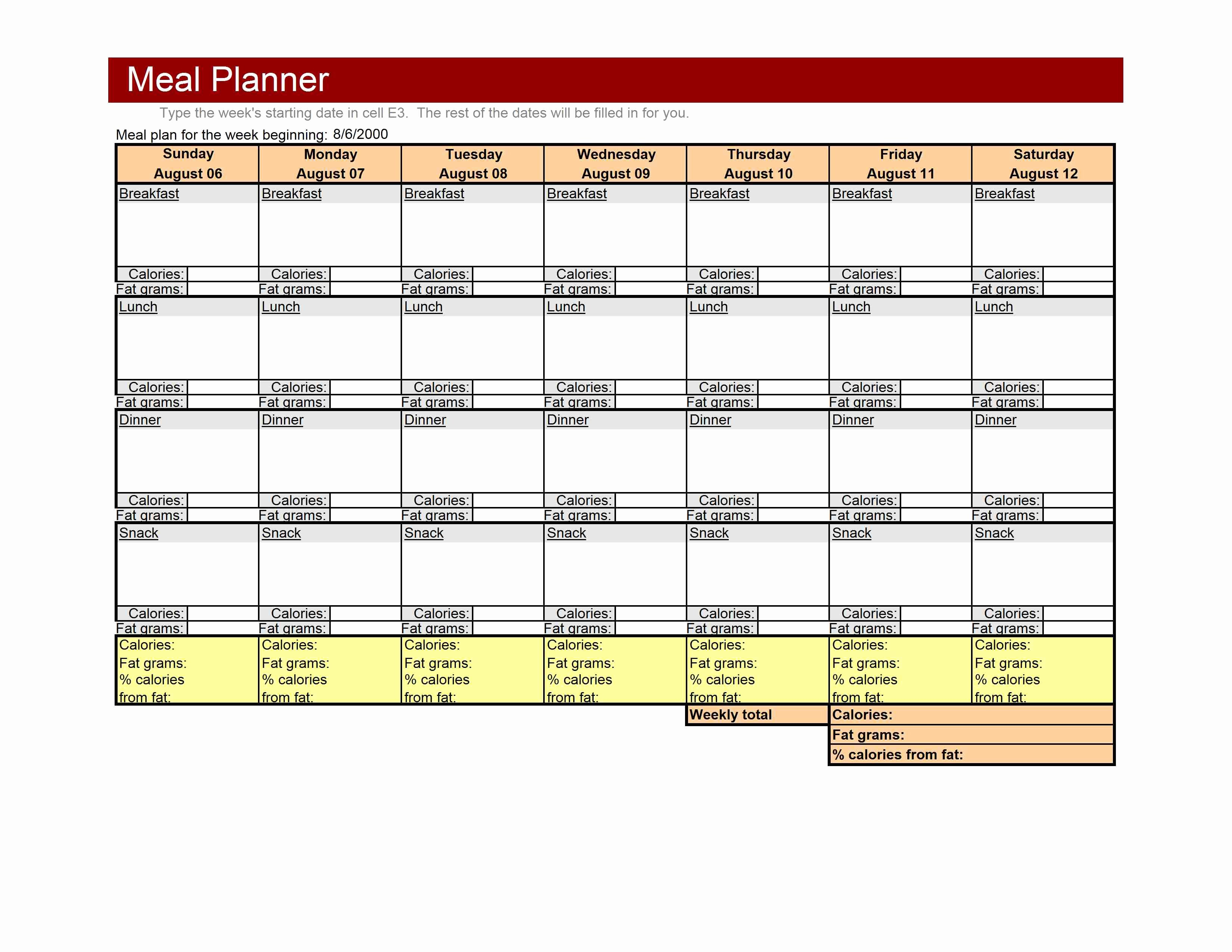 Meal Plan Template Excel Elegant 86 Weekly Meal Planner 1024x791 Weekly Meal Planner