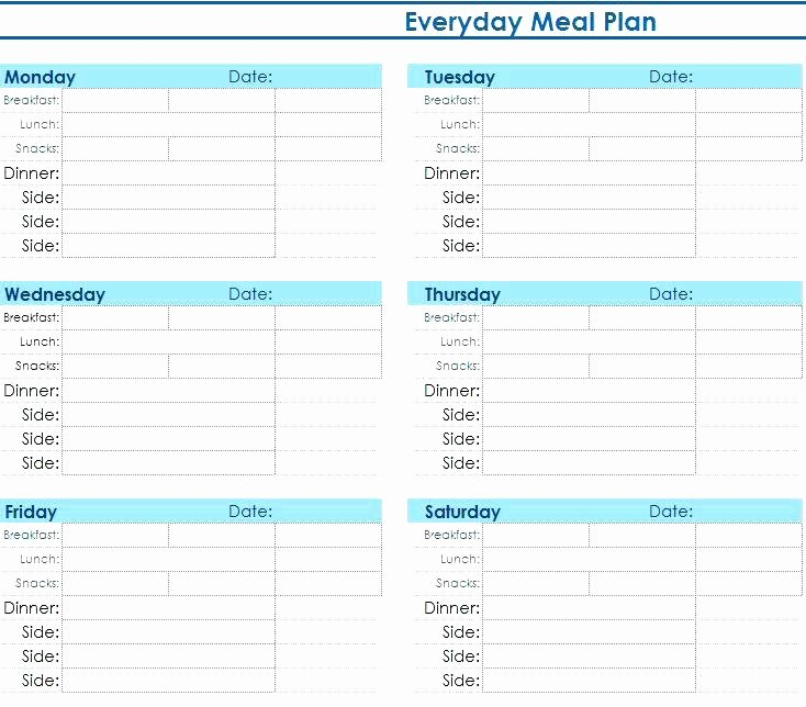 Meal Plan Template Excel Fresh Meal Plan Template Excel Planner Sample Daily Menu Best