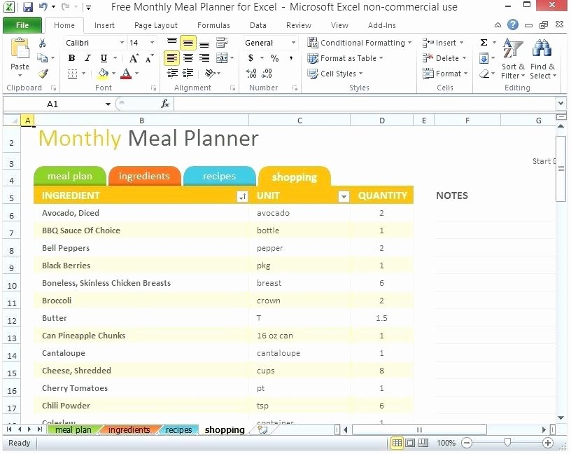 Meal Plan Template Excel Fresh Trip Planner Excel Monthly Meal Planner Excel Template