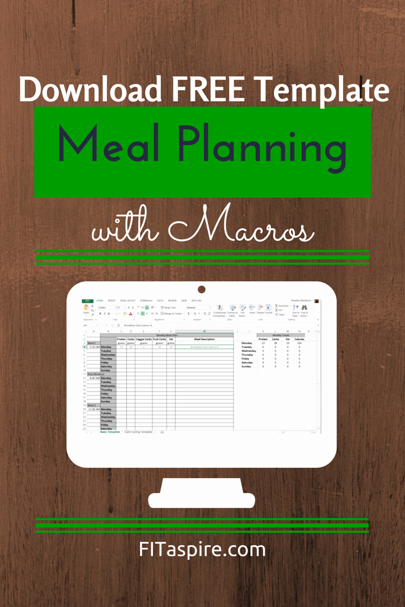 Meal Plan Template Excel Inspirational Meal Planning with Macros Free Template