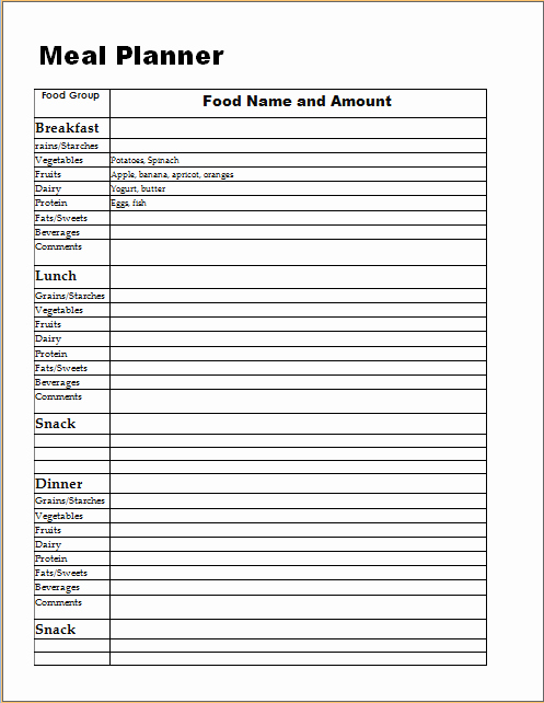 Meal Plan Template Excel Lovely Meal Planner Log Template