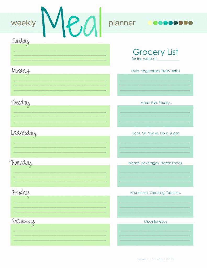 Meal Plan Template Excel New 28 Free Printable Grocery List Templates