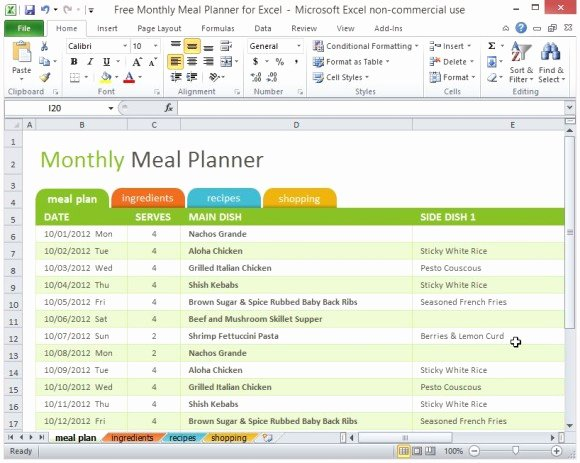 Meal Plan Template Excel New Free Monthly Meal Planner for Excel