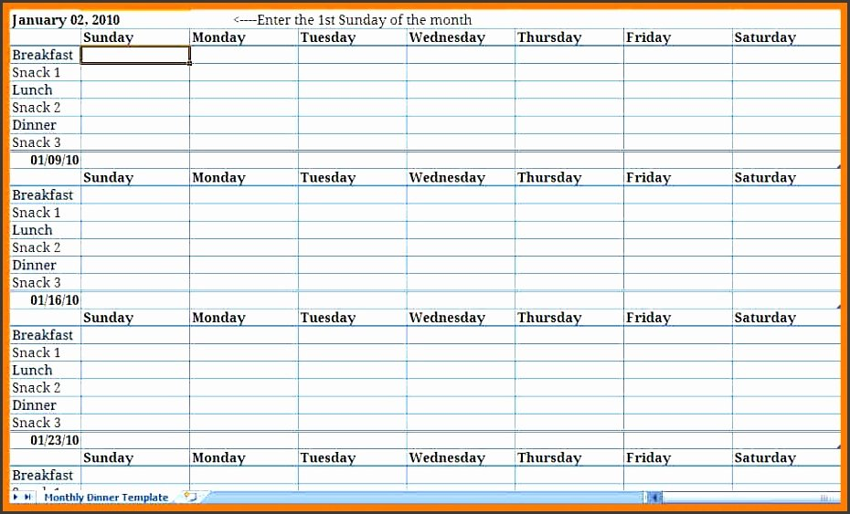 Meal Plan Template Excel Unique Monthly Meal Plan Excel Template Archives