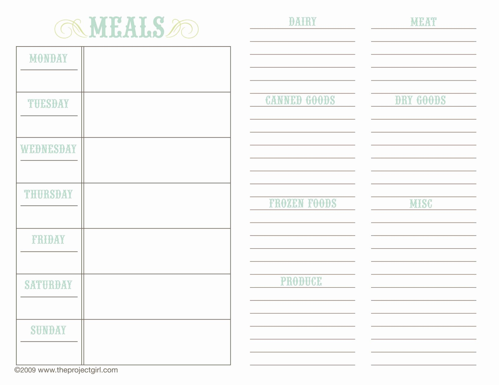 Meal Plan Template Free Awesome Meal Planner Template