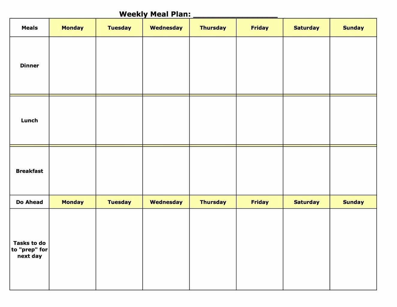 Meal Plan Template Free Beautiful Meal Plan Template