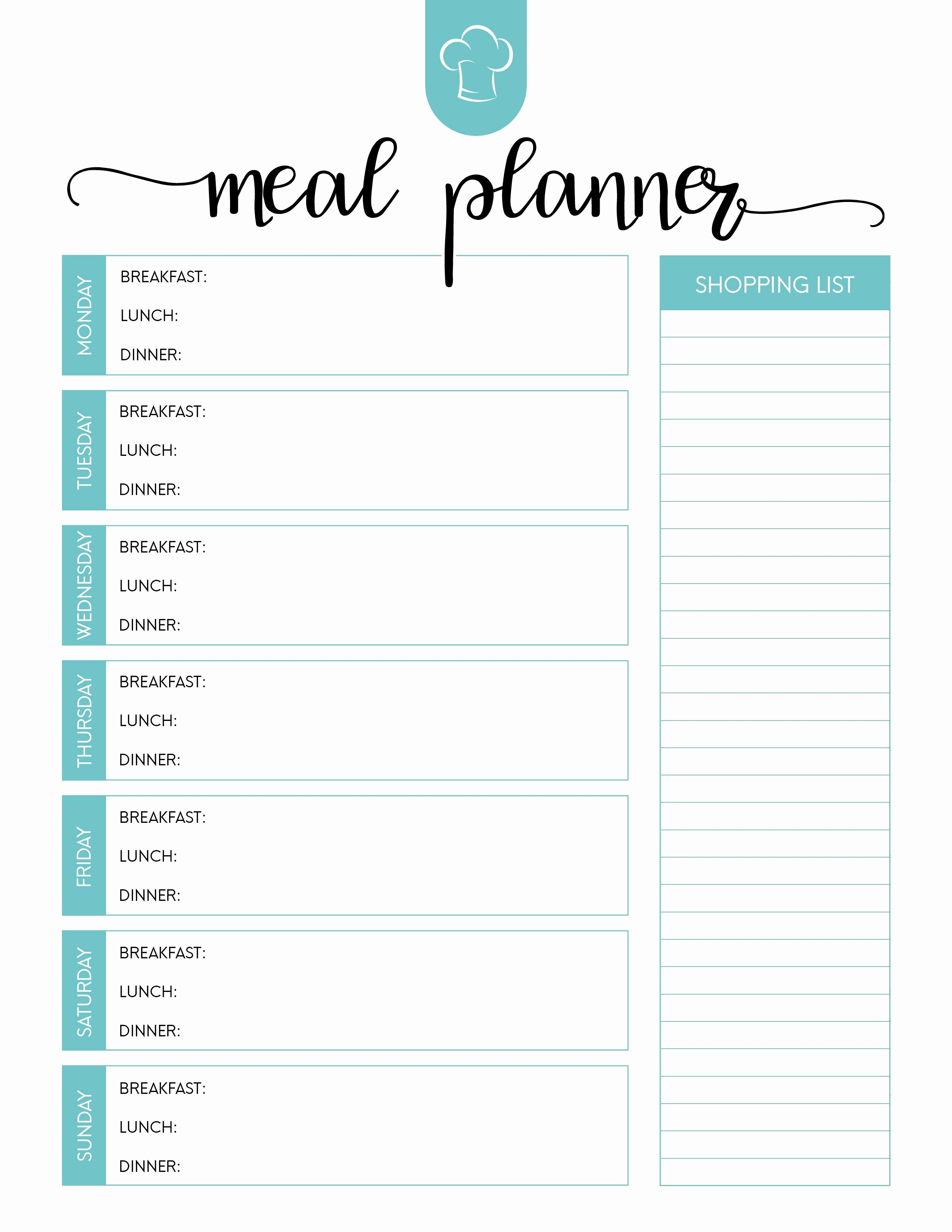 Meal Plan Template Free Best Of Printable Meal Planning Template Dinner Planner Blank Plan