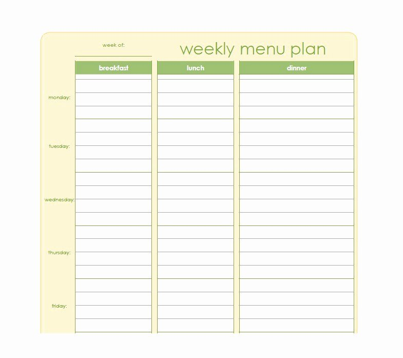 Meal Plan Template Free Luxury 40 Weekly Meal Planning Templates Template Lab