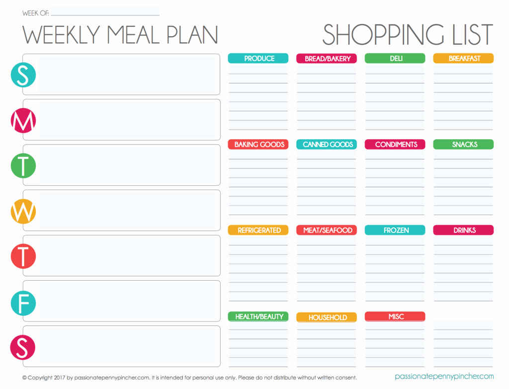 Meal Plan Template Free Luxury Free Editable Menu Plan and Grocery List
