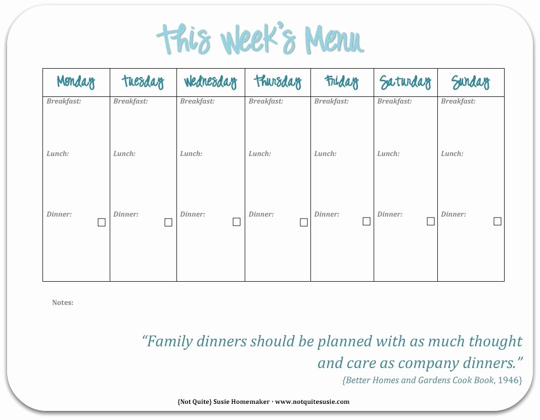 Meal Plan Template Free New Free Printable Weekly Meal Planner Not Quite Susie