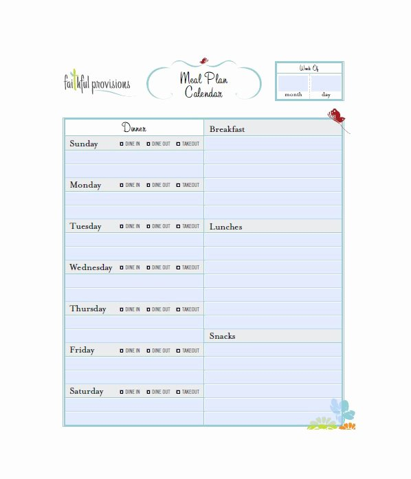 Meal Plan Template Free Unique 40 Weekly Meal Planning Templates Template Lab