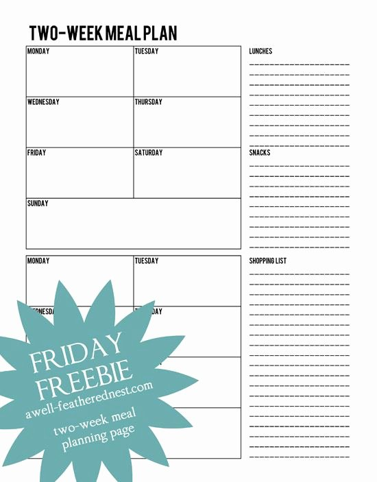 Meal Plan Template Google Docs Beautiful Free Two Week Meal Plan From A Well Feathered Nest