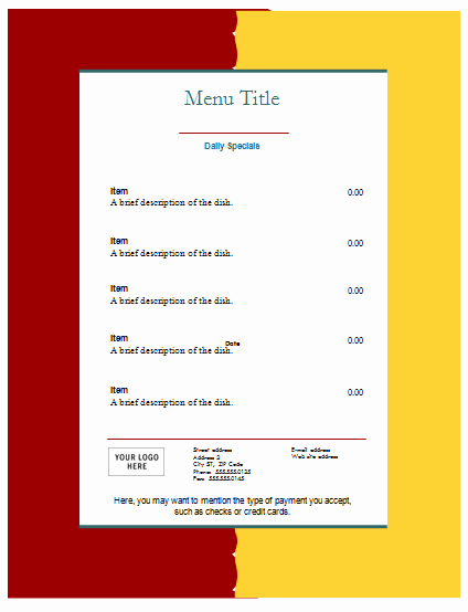 Meal Plan Template Google Docs Elegant Food Menu Template An Easy Way to Make A Food Menu