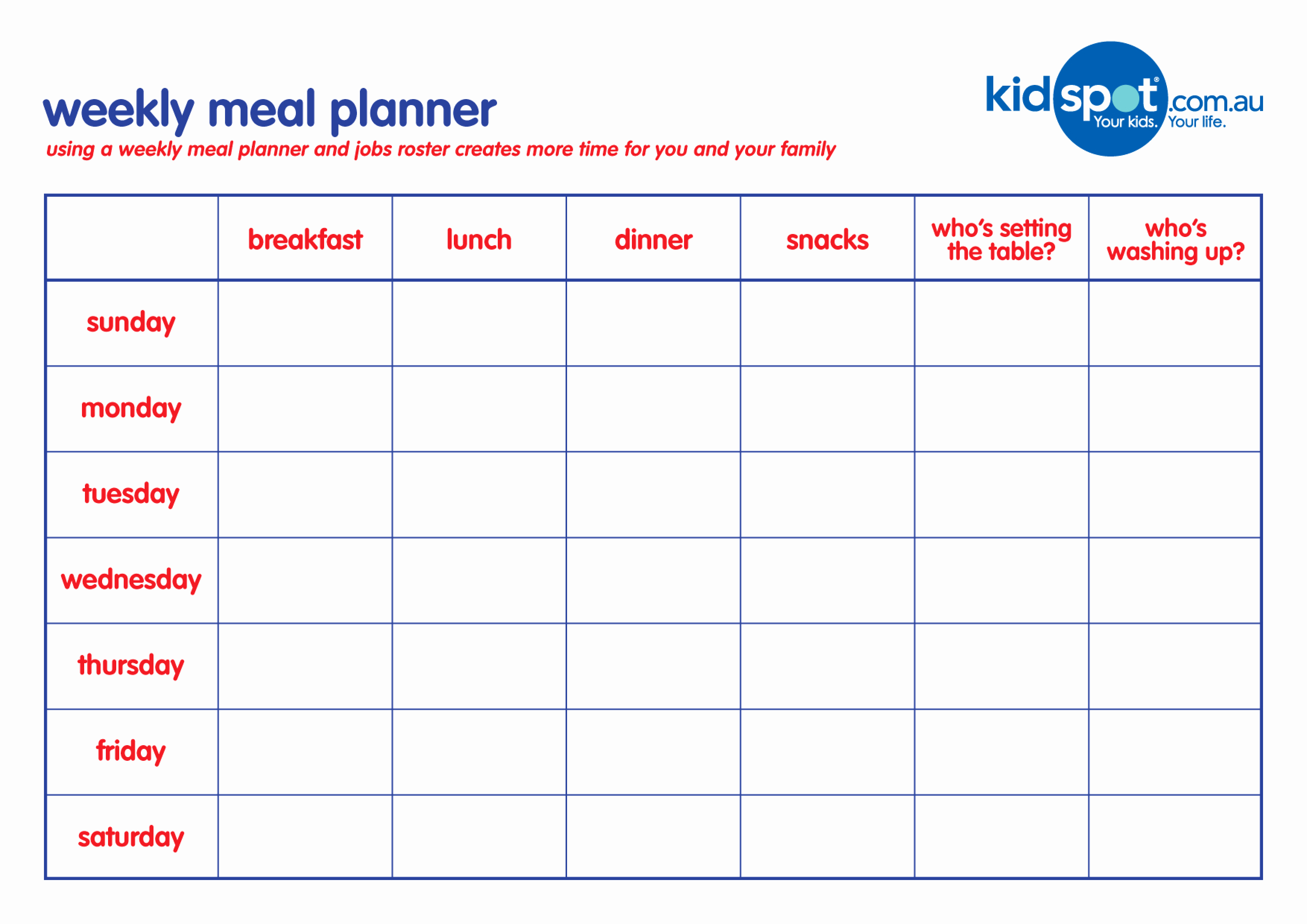 Meal Plan Template Google Docs Luxury Free Weekly Family Meal Planner