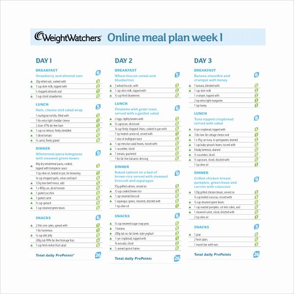 Meal Plan Template Pdf Awesome 14 Weekly Meal Plan Templates