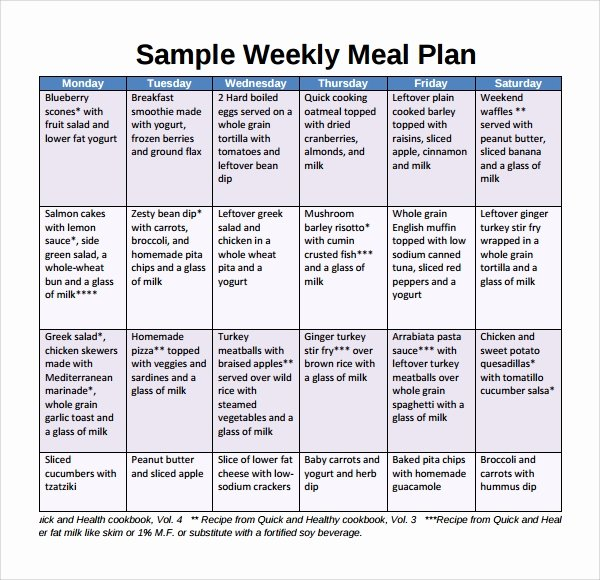 Meal Plan Template Pdf Beautiful Sample Weekly Meal Plan Template 9 Free Documents In
