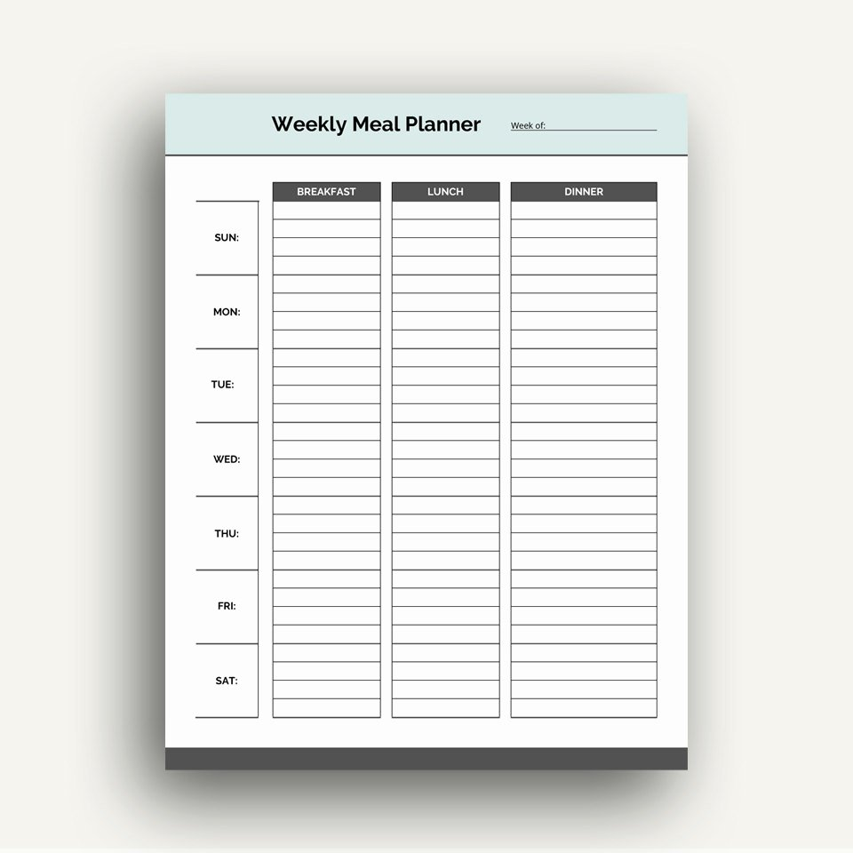 Meal Plan Template Pdf Fresh Weekly Meal Planner Template Printable Pdf Planner for Meals