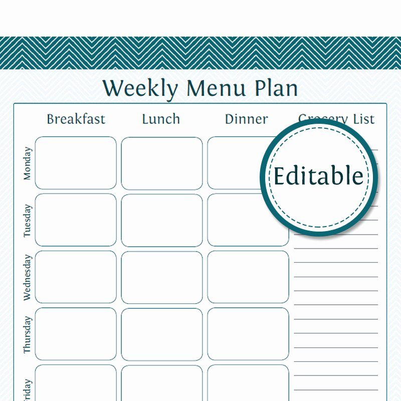 Meal Plan Template Pdf Unique Weekly Menu Planner with Grocery List Fillable Printable