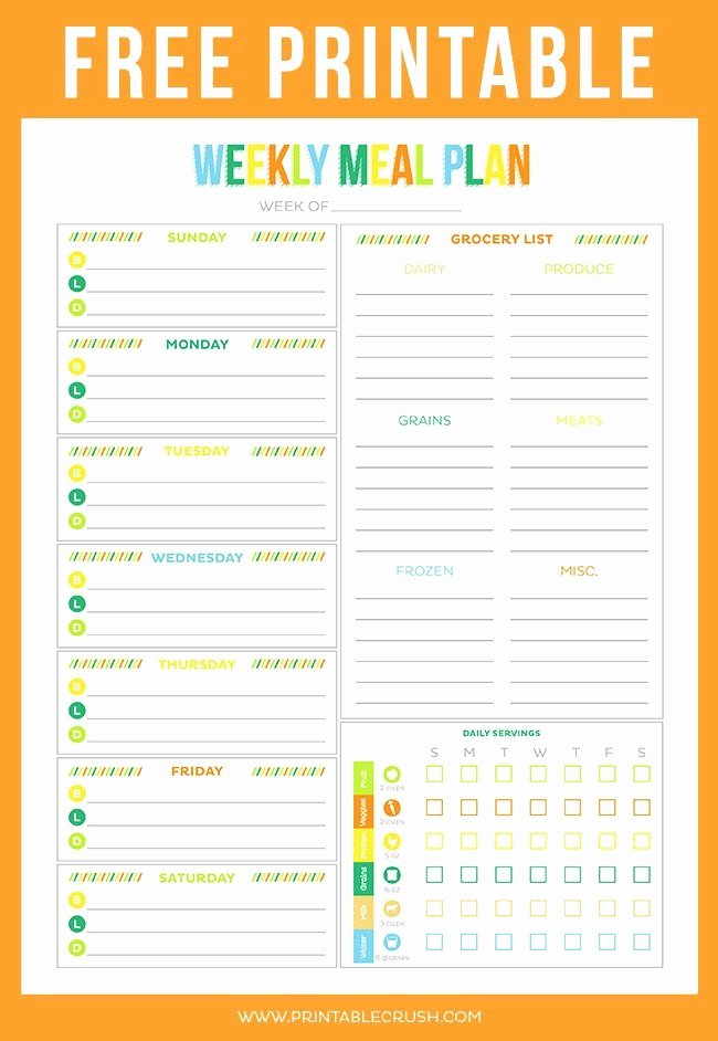 Meal Plan Template Printable Awesome Free Printable Weekly Meal Planner Printable Crush