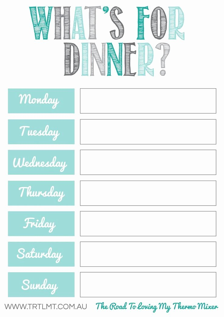 photo relating to Meal Plan Template Printable identify Dinner System Template Printable Fresh new Cost-free Evening meal Developing