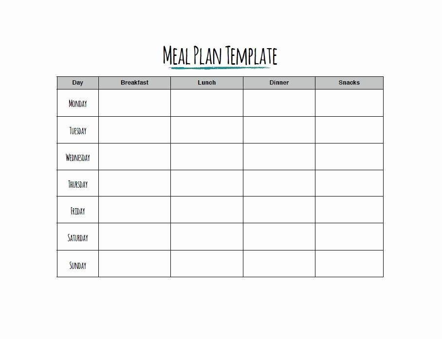 Meal Plan Template Printable Inspirational 40 Weekly Meal Planning Templates Template Lab