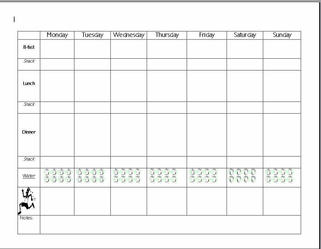 Meal Plan Template Printable Lovely Meal Plan Template