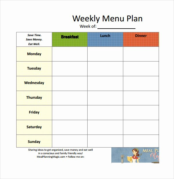 Meal Plan Template Word Awesome 14 Weekly Meal Plan Templates
