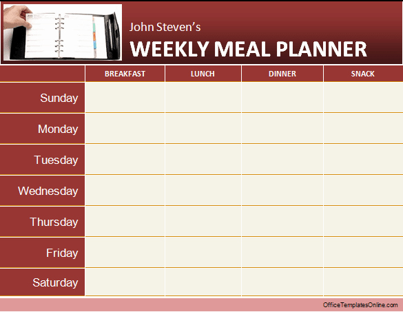 Meal Plan Template Word Lovely Daily & Weekly Ms Word Planner Templates